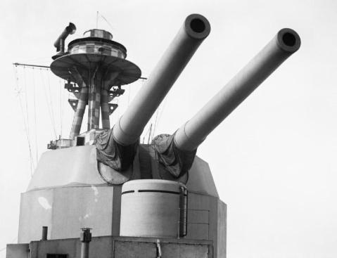 Terror's 15s, these ships had thier turret set so high to enable her shallow draft