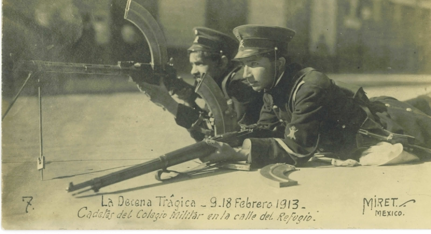 The guns made an early appearance in Mexico's series of civil wars, shown here in 1913