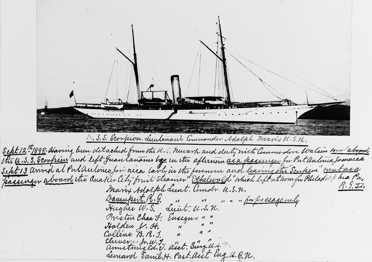 Photograph of ship, with diary entry and roster of officers. Lieutenant Commander Richard G. Davenport was aboard as passenger. Description: Catalog #: NH 43803