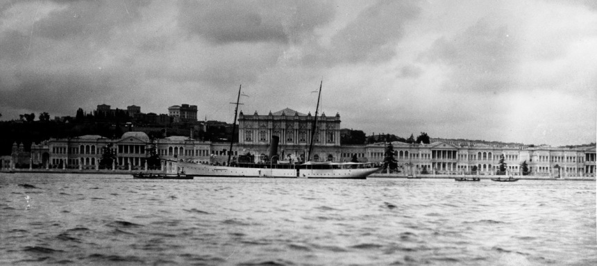 Anchored off the Dolma Bagtche Palace, Constantinople, probably during the early 1920s. Description: Original negative, given by Mr. Franklin Moran in 1967.Catalog #: NH 65006 Copyright Owner: Naval History and Heritage Command.
