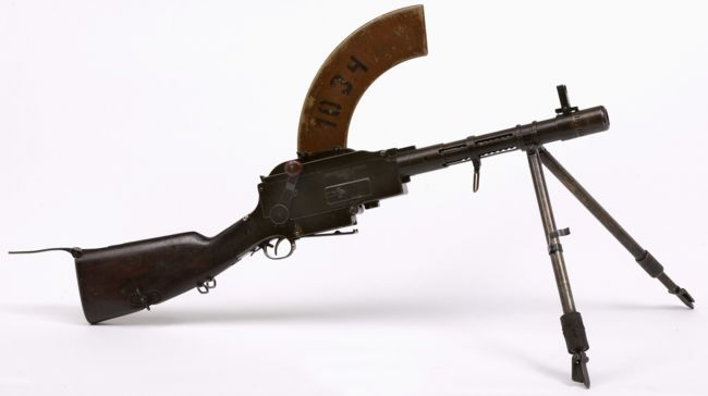 short barreled Madsen light machine gun, a Danish manufactured weapon used in the 1930's and 40's in the Dutch West India Colonies