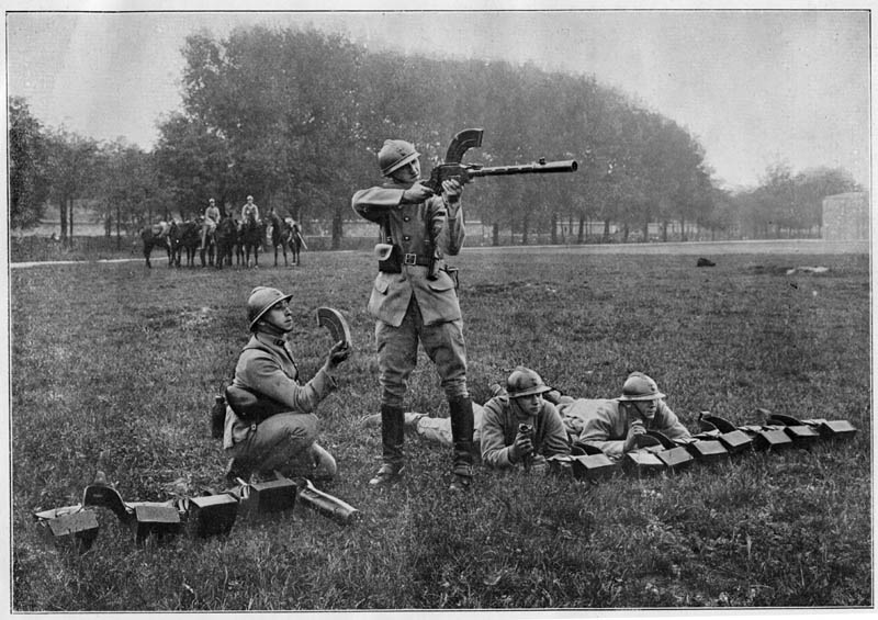 Soldiers, possibly Czechoslovak Legion, using a Madsen machine gun note french adrian helmets