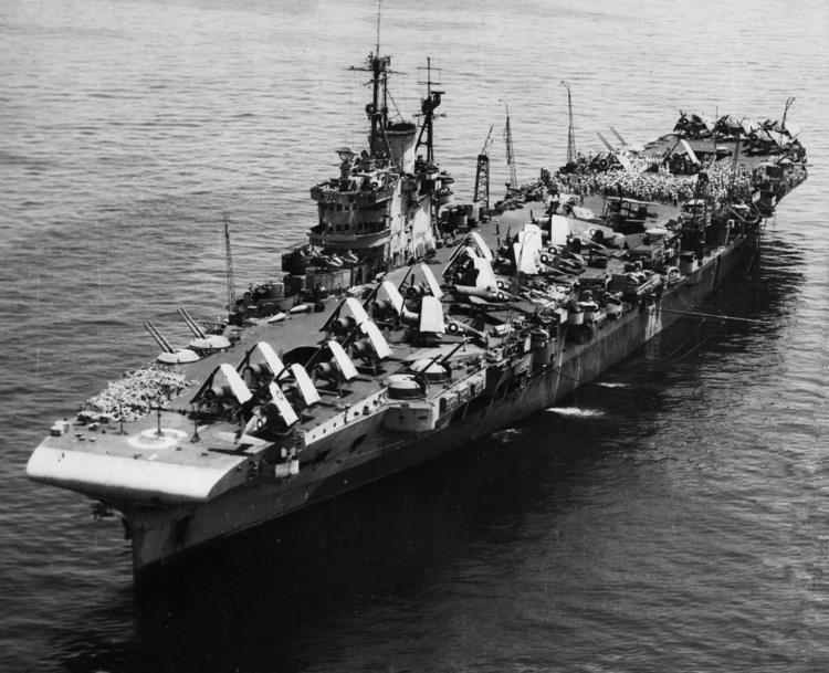 Aircraft carrier HMS Formidable at Leyte, Philippines late in the war