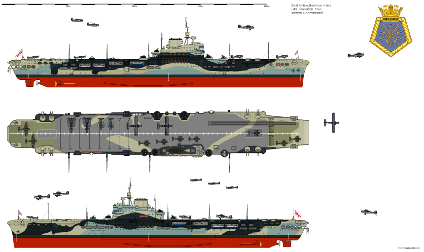 Formidable, WWII configuration, via shipbucket http://www.shipbucket.com/images.php?dir=Real%20Designs/Great%20Britain/CV%2067%20Formidable%201942.png