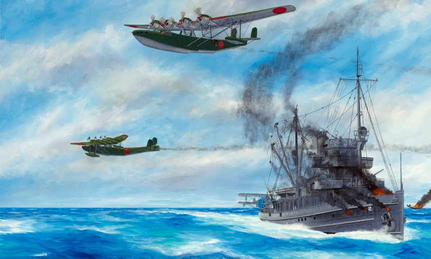 """""""Evasion of Destruction"""" by Richard DeRosset portrays a strafing run by three Japanese """"Mavis"""" flying boats following their unsuccessful torpedo attack on the USS Heron (AVP-2) on 20 December 1941. Heron shot down one of the aircraft with her starboard 3-inch gun; her port gun had been disabled by earlier combat action. This final attack followed a series of earlier ones by twelve other enemy aircraft against the seaplane tender as she sailed alone in the Java Sea. Due to heroic actions by her captain and crew, Heron survived seemingly overwhelming odds during the long ordeal. Heron had approximately 26 casualties, or about 50 percent of the crew, because of the attack."""