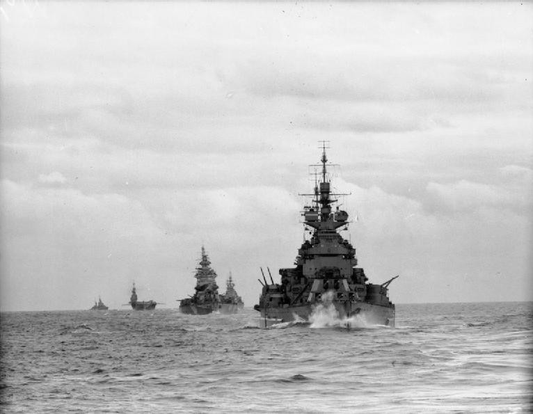 Force H warships HMS Duke of York, Nelson, Renown, Formidable, and Argonaut underway off North Africa, November 1942.