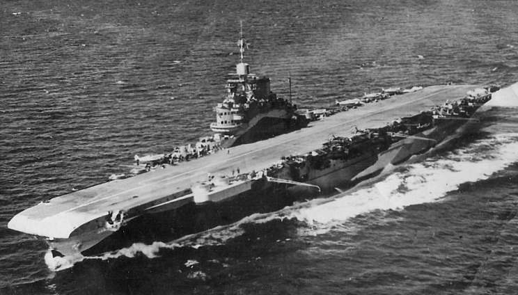 HMS Formidable of the Illustrious-class underway, date and location unknown.