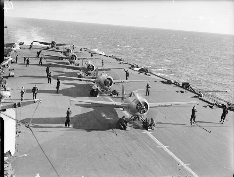Martlet fighters aboard HMS Formidable in the Mediterranean Sea, 1942