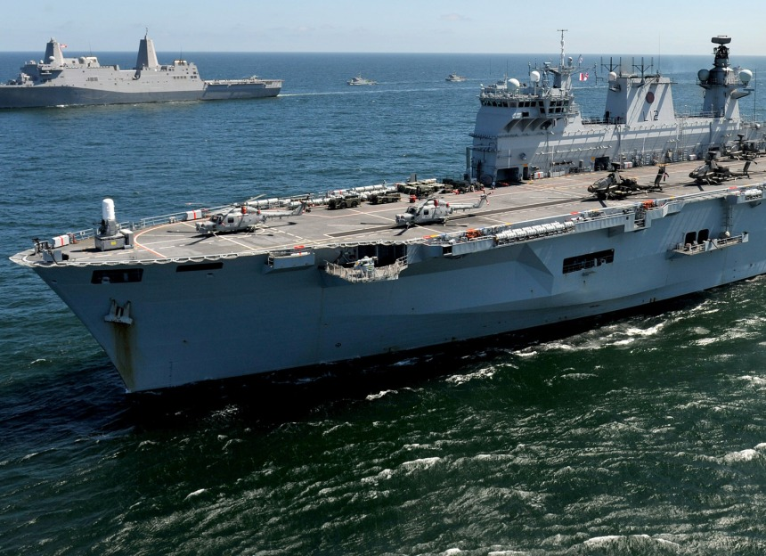 MoD photo. Note the comparison in size to the 25,000-ton San Antonio-class LPD in the distance.