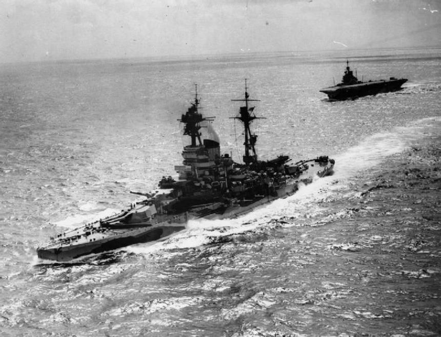 Revenge-class battleship HMS Resolution and Illustrious-class aircraft carrier HMS Formidable