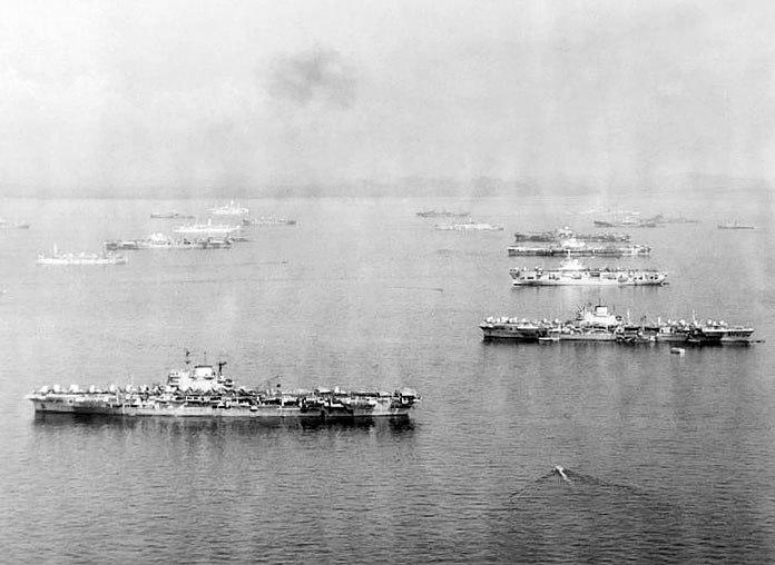 Victorious, Formidable, Unicorn, Indefatigable, Indomitable, TF57, Leyte Gulf, Apr 1945