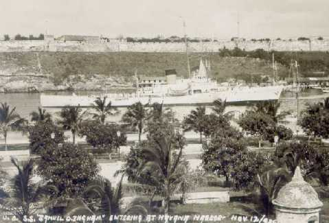 U.S.S. 'Samuel D. Ingham' Entering At Havana Harbor-Nov. 12 1936