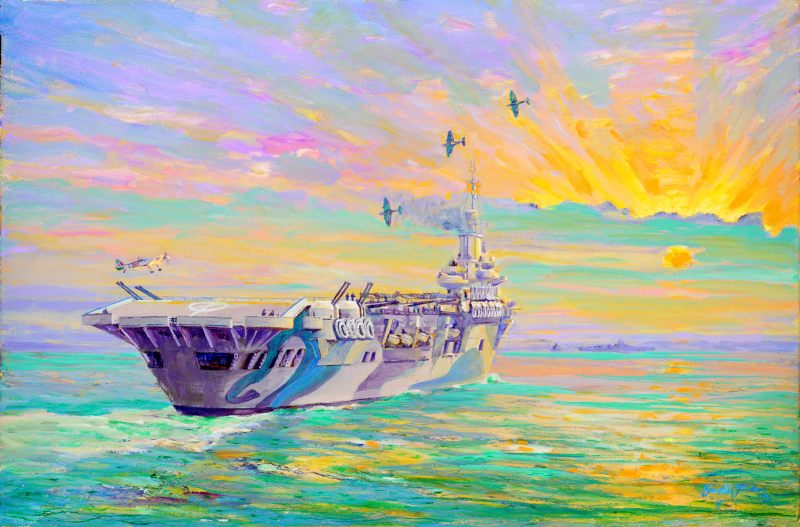 HMS Formidable, 1942 – Seafires returning by Gordon Frickers http://www.frickers.co.uk/art/marine-art/war-ships/hms-formidable-1942-seafires-returning/