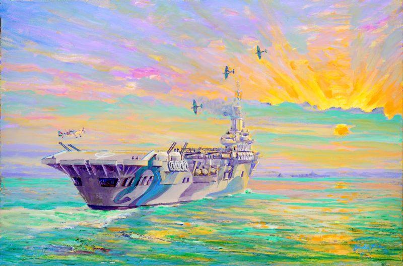 HMS Formidable, 1942 – Seafires returning by Gordon Frickers http://www.frickers.co.uk/art/marine-art/war-ships/hms-formidable-1942-seafires-returning/