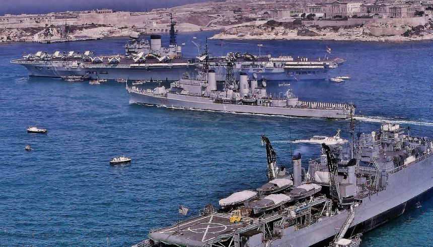 Victorious in Grand Harbour, Malta en route back to the UK following her 1966–67 Far East cruise, image via WIki