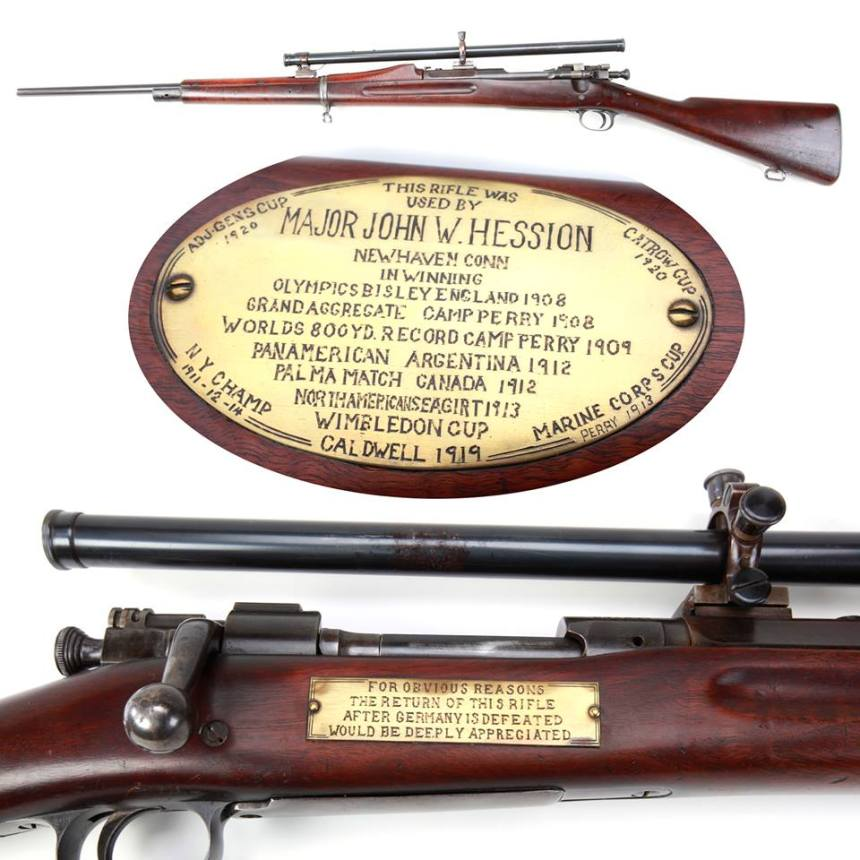 Maj. Hession's rifle served him well in competition for over 30 years, then was loaned to the British to help Londoners from learning German in WWII. (Photo: National Firearms Museum)