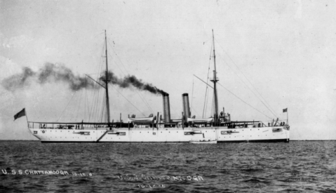 Starboard side view, anchored, 12 OCT 1906. Photo 0-G-1035139 from The National Archives.