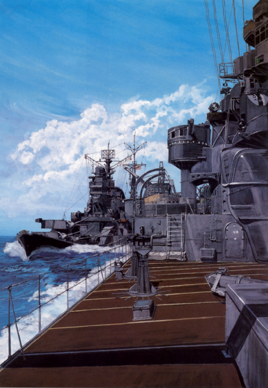 Heavy cruisers Tone and Chikuma during the Battle of Leyte Gulf.