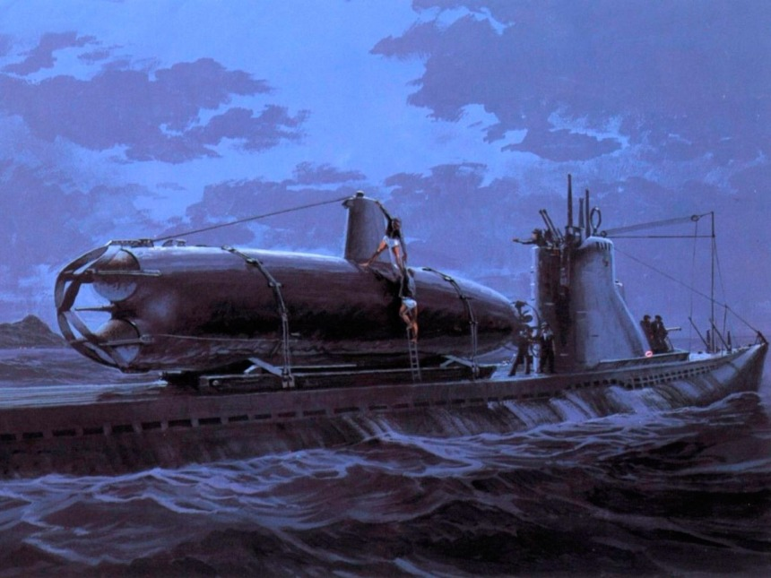 IJN submarine with piggyback midget sub. prior the attack on Pearl harbor 1941