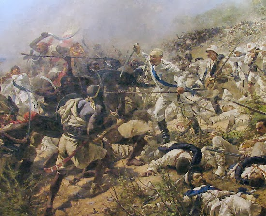 Michele Cammarano's painting depicts the Battle of Dogali on January 26, 1887. It didn't go well for the Italians.