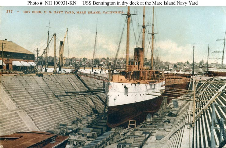 USS Bennington (Gunboat # 4) In drydock at the Mare Island Navy Yard, California, circa 1894-98. This photograph was published on a -tinted postcard by Edward H. Mitchell, San Francisco, California. Courtesy of H.E. (Ed) Coffer, 1986. U.S. Naval History and Heritage Command Photograph. Catalog #: NH 100931-KN