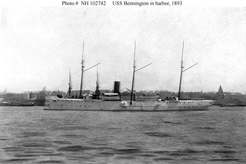 (Gunboat # 4) In a harbor, 1893. Copied from The New Navy of the United States, by N.L. Stebbins, (New York, 1912). Donation of David Shadell, 1987. U.S. Naval History and Heritage Command Photograph. Catalog #: NH 102742