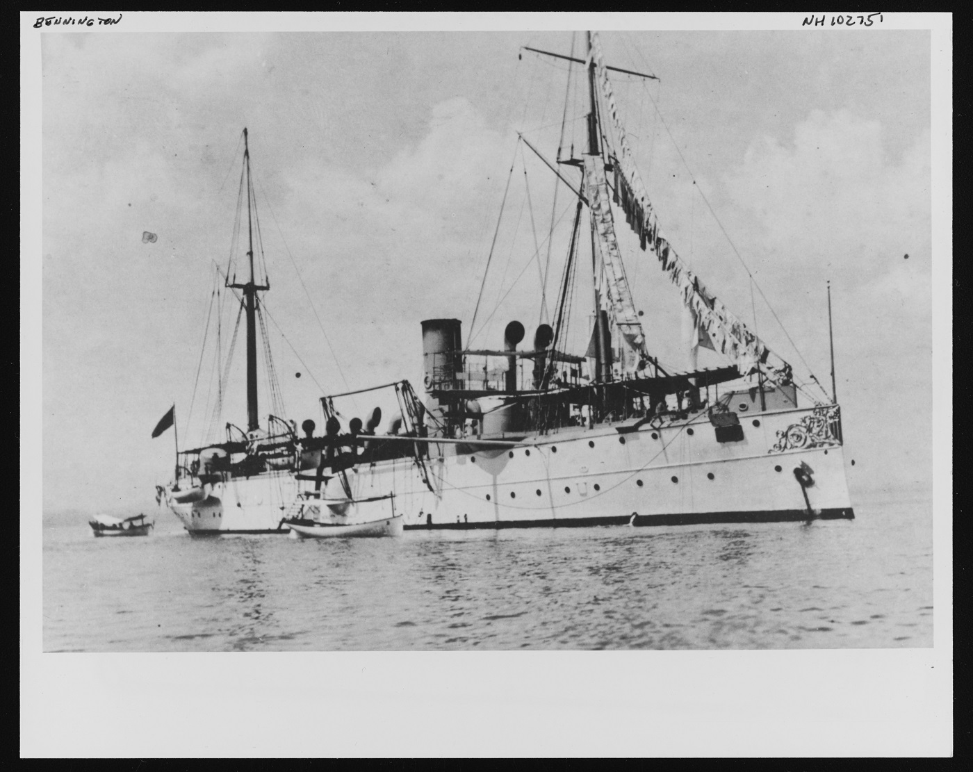 (Gunboat # 4) At anchor while serving with the Pacific Squadron in 1904. Donation of John C. Reilly, Jr., 1977. U.S. Naval History and Heritage Command Photograph. Catalog #: NH 102751