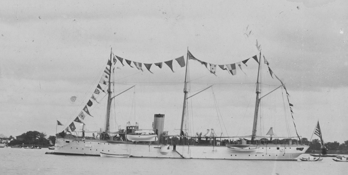 (Gunboat # 4) At Shanghai, China, on 4 July 1901, dressed with flags in honor of Independence Day. Collection of Chief Boatswain's Mate John E. Lynch, USN. Donated by his son, Robert J. Lynch, in April 2000. U.S. Naval History and Heritage Command Photograph. Catalog #: NH 102765