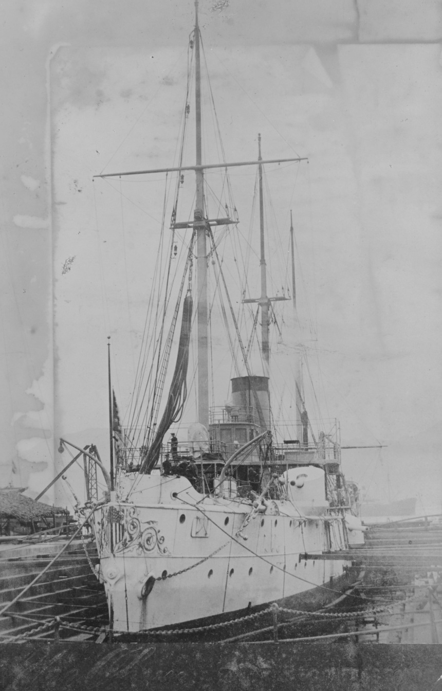 (Gunboat # 4) In the Kowloon, dry dock, Hong Kong, China, in 1901. Collection of Chief Boatswain's Mate John E. Lynch, USN. Donated by his son, Robert J. Lynch, in April 2000. U.S. Naval History and Heritage Command Photograph. Catalog #: NH 102766