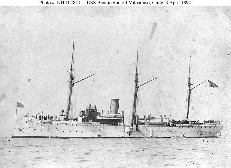(Gunboat # 4) Off Valparaiso, Chile, 3 April 1894 on her way to California. U.S. Naval History and Heritage Command Photograph. Catalog #: NH 102821