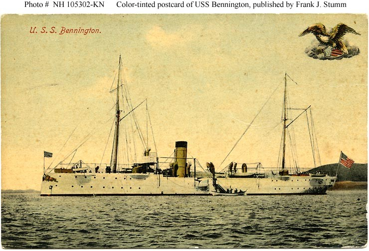 USS Bennington (Gunboat # 4) At anchor, probably in San Francisco Bay, California, circa 1903-1905. This -tinted photograph is printed on a postcard, published during the first decade of the Twentieth Century by Frank J. Stumm, Benicia, California. For a view of the reverse of the original postcard, see: Photo # NH 105302-A-KN. Courtesy of Harrell E. (Ed) Coffer, 2007. U.S. Naval History and Heritage Command Photograph. Catalog #: NH 105302-KN