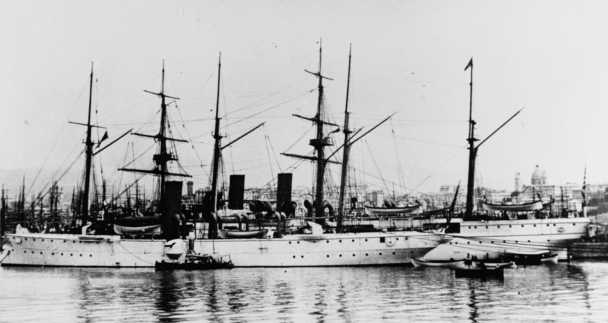(Gunboat # 4) In a European harbor, circa 1892-1893, with USS Newark (Cruiser # 1) alongside. Courtesy of Arrigo Barilli, Bologna, Italy. U.S. Naval History and Heritage Command Photograph. Catalog #: NH 56381