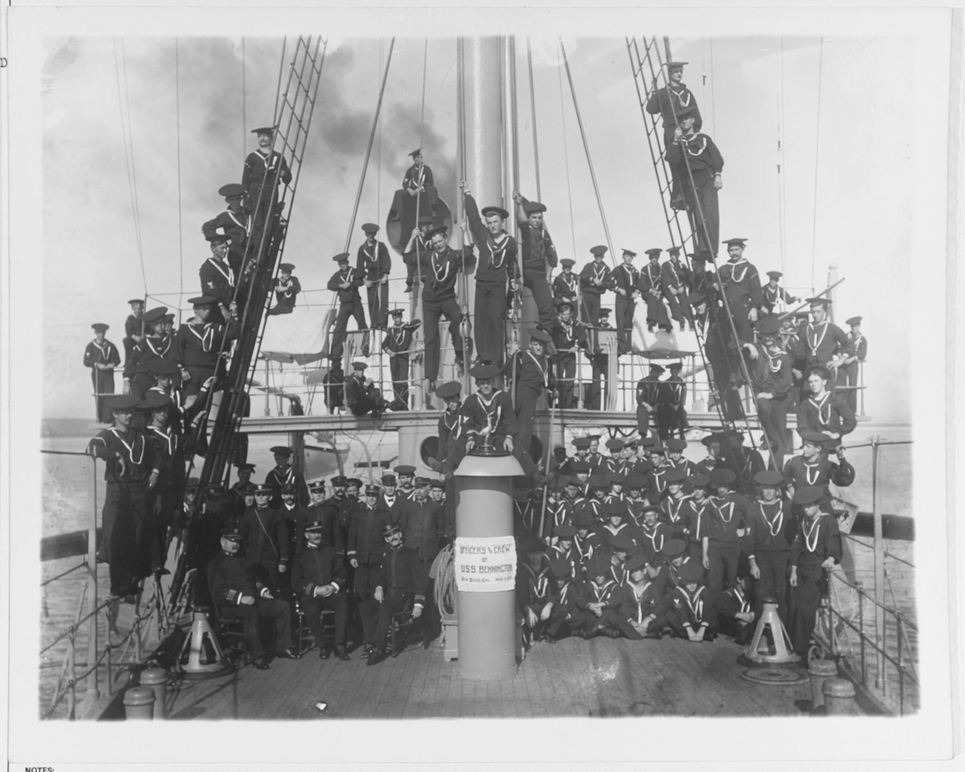 (Gunboat # 4) Ship's officers and crew posed on deck and in her foremast rigging, at San Diego, California, 3 March 1905. Tragically, within just four months, many of these men in the photo would be dead. Courtesy of the Historical Collection, Union Title Insurance Company, San Diego, California. U.S. Naval History and Heritage Command Photograph. Catalog #: NH 56382