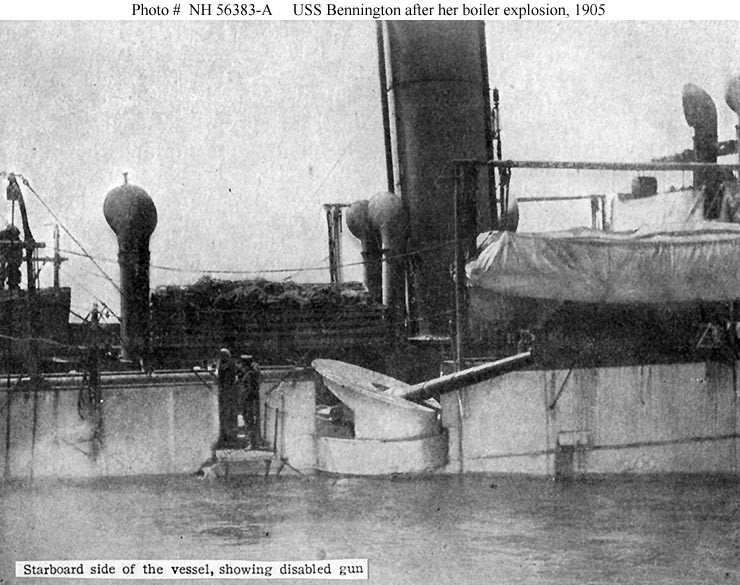 (Gunboat # 4) Halftone reproduction of a photograph, showing the ship's starboard side, amidships, as she was beached at San Diego, California, soon after her 21 July 1905 boiler explosion. A disabled six-inch gun is in the center of the image. Donation of Rear Admiral Ammen Farenholt, USN (Medical Corps), November 1931. U.S. Naval History and Heritage Command Photograph.Catalog #: NH 56383-A