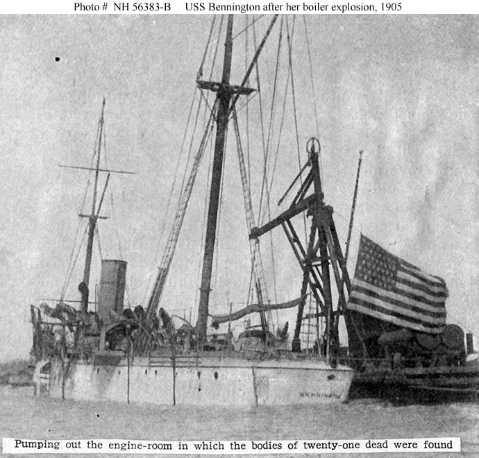 (Gunboat # 4) Halftone reproduction of a photograph, showing the ship as her engine room was being pumped out, soon after her 21 July 1905 boiler explosion at San Diego, California. Note her National Ensign flying at half-staff. Donation of Rear Admiral Ammen Farenholt, USN (Medical Corps), November 1931. U.S. Naval History and Heritage Command Photograph. Catalog #: NH 56383-B