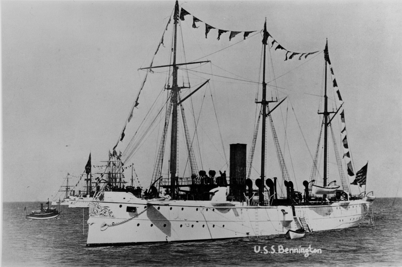 (Gunboat # 4) Dressed with flags in a harbor, probably while serving with the Squadron of Evolution, circa 1891-1892. Courtesy of Donald M. McPherson, 1969. U.S. Naval History and Heritage Command Photograph. Catalog #: NH 67551