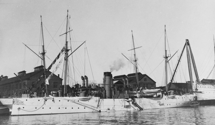 USS Bennington Description: (Gunboat # 4) At the Mare Island Navy Yard, California, circa 1903. Courtesy of the Naval Historical Foundation, 1975. U.S. Naval History and Heritage Command Photograph. Catalog #: NH 83961