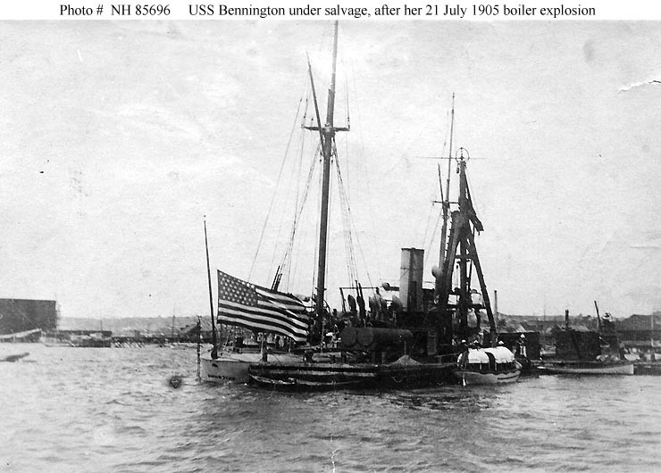 (Gunboat # 4) Salvage party at work on the partially sunken ship, in San Diego harbor, California, after her 21 July 1905 boiler explosion. Bennington's National Ensign is flying at half-staff. Donation of William L. Graham, 1977. U.S. Naval History and Heritage Command Photograph. Catalog #: NH 85696