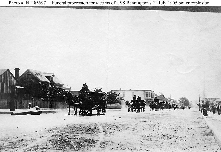 (Gunboat # 4) Funeral procession at San Diego, California, for victims of the ship's 21 July 1905 boiler explosion. Donation of William L. Graham, 1977. U.S. Naval History and Heritage Command Photograph. Catalog #: NH 85697