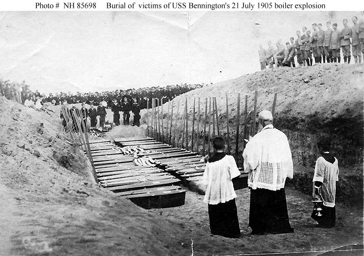 (Gunboat # 4) Burial ceremonies, at San Diego, California, for victims of the ship's 21 July 1905 boiler explosion. Donation of William L. Graham, 1977. U.S. Naval History and Heritage Command Photograph. Catalog #: NH 85698