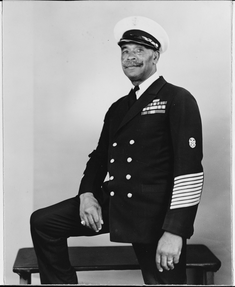 Photo #: NH 89471 John Henry (Dick) Turpin, Chief Gunner's Mate, USN (retired) (1876-1962) One of the first African-American Chief Petty Officers in the U.S. Navy. This photograph appears to have been taken during or after World War II. U.S. Naval History and Heritage Command Photograph. Catalog #: NH 89471