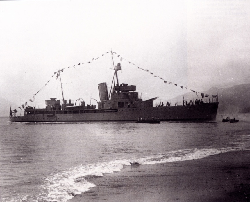 Paraguayan gunboat Humaitá without her main armament, shortly after being launched