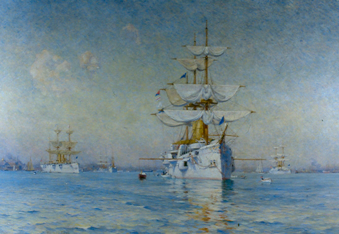 Peace (the White Squadron in Boston Harbor), oil on canvas, 1893 Collection of the U.S. House of Representatives. Peace was painted by well-known American marine painter Walter Lofthouse Dean in 1893.