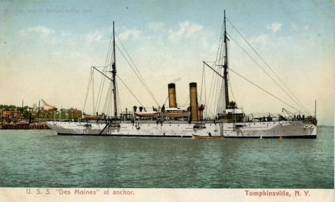 USS Des Moines (C-15, CL-17, PG 29), a good postcard reference to the Denver class. Note the schooner rig and fine lines.