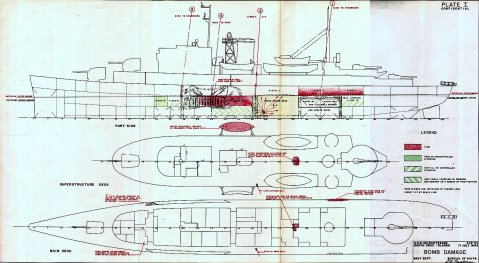 Bomb damage diagram of USS Chincoteague (AVP-24) suffered on 17 July 1943 at Saboe Bay off the Santa Cruz Islands. Navy Department Library, USS Chincoteague (AVP-24) War Damage Report No. 47. Plate I