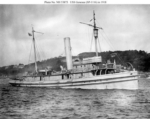 "USS Genesee (SP-1116) under way at Queenstown, Ireland, in 1918. Wartime fittings included the gun platform and 3""/50 gun forward and the crow's nest on the foremast. US Naval History and Heritage Command. Photo # NH 53873, Photographed by Zimmer. Via Navsource."
