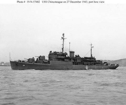 USS Chincoteague (AVP-24) Photographed on 27 December 1943 off the Mare Island Navy Yard following repairs to severe battle damage incurred in July 1943. One of the four 5/38 guns in her original armament has been replaced by a quadruple 40mm mount. Photograph from the Bureau of Ships Collection in the U.S. National Archives. Catalog #: 19-N-57482