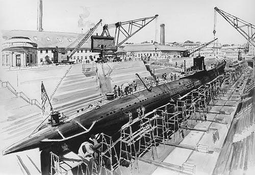 USS Barracuda in dry dock