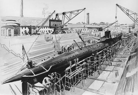 USS Barracuda in dry dock