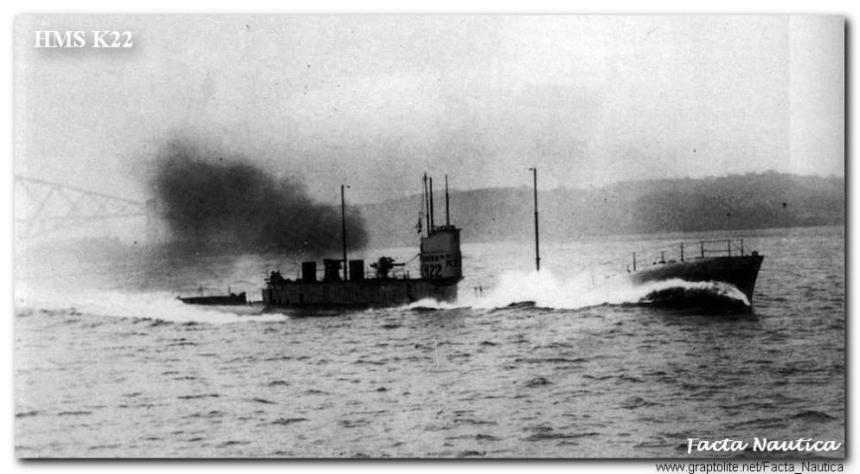 British submarine HMS K22 (ex HMS K13) under way at speed during trial in the Firth of Forth after repair and refit.